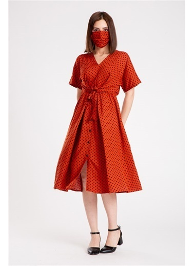 Madame Sare  Kadın Puantiye Desenli Kiremit Elbise Kiremit